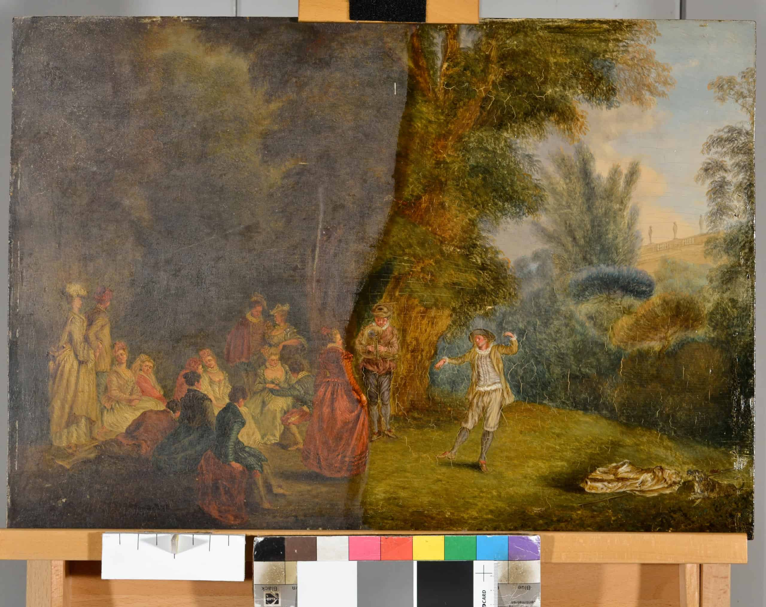 Art conservation expert insights demonstrate half-cleaned painting