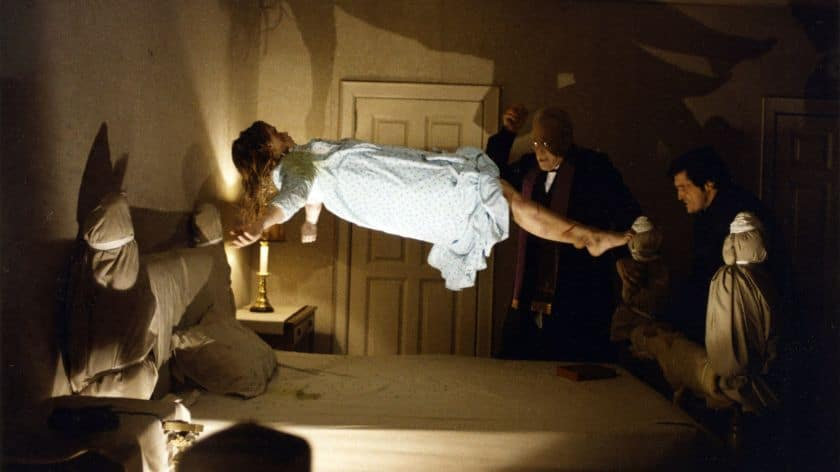 "Linda Blair, left, Max Von Sydow and Jason Miller in a scene from all-time scary movie ""The Exorcist"""