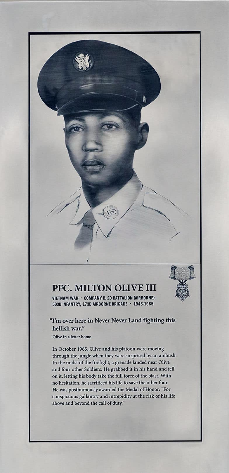 Pfc. Milton Olive III, Soldier Pylon, Soldiers' Stories Gallery