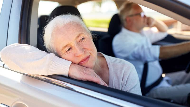 Woman scared from husband's driving Image