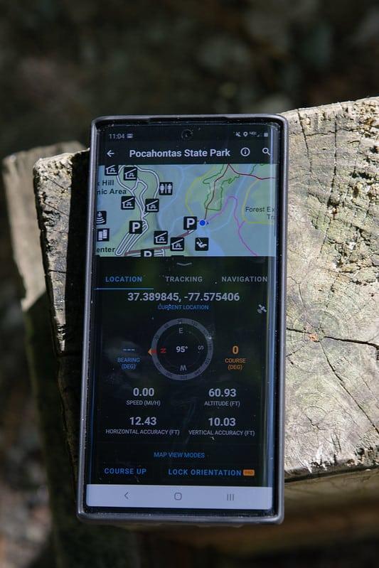 Virginia State Park Avenza maps closeup