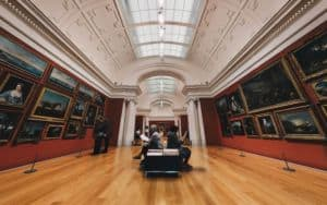 Art museum gallery of paintings Image