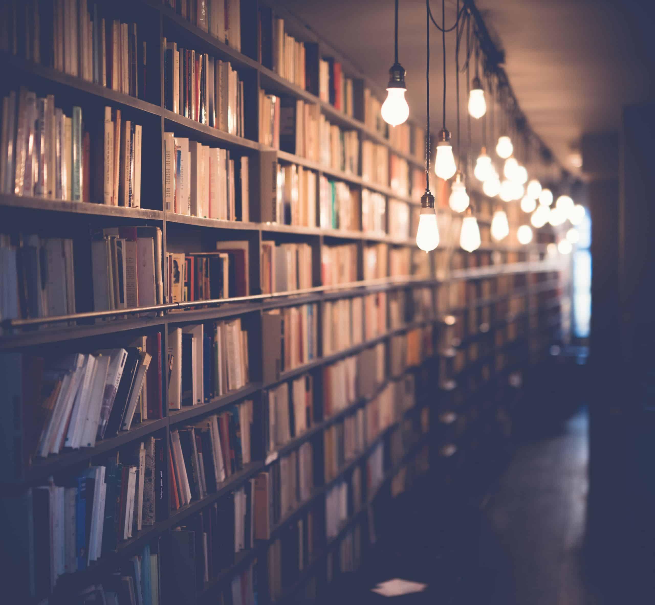 Long, tall bookshelves full of books