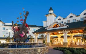 Dollywood DreamMore Resort & Spa entrance at holidays, for Southern Oyster Cornbread Dressing Recipe enjoyment Image