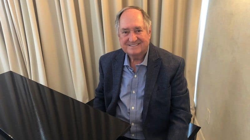 Neil Sedaka at his piano in his Los Angeles home about to record a new mini-concert - provided by Neil Sedaka Image