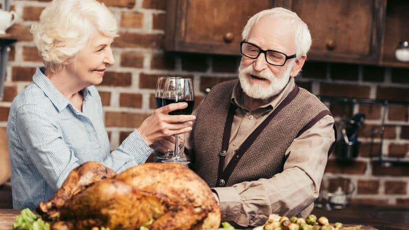 Thanksgiving couple celebrating alone Image
