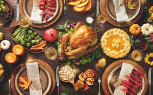 Thanksgiving dishes covering the table Image