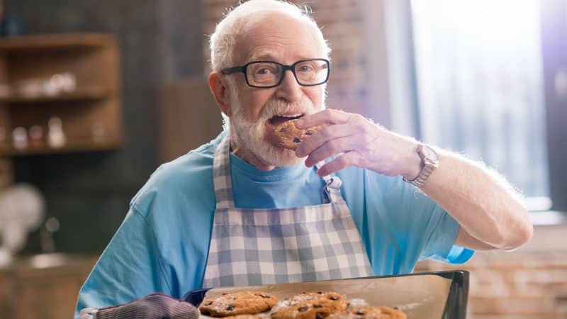 Senior man craving carbs because of the wintertime Image
