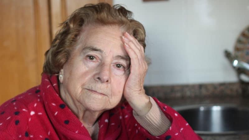 Senior woman annoyed at sloppy longtime partner Image