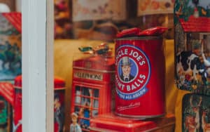 memories of childhood and candy - candy tins in shop window Image