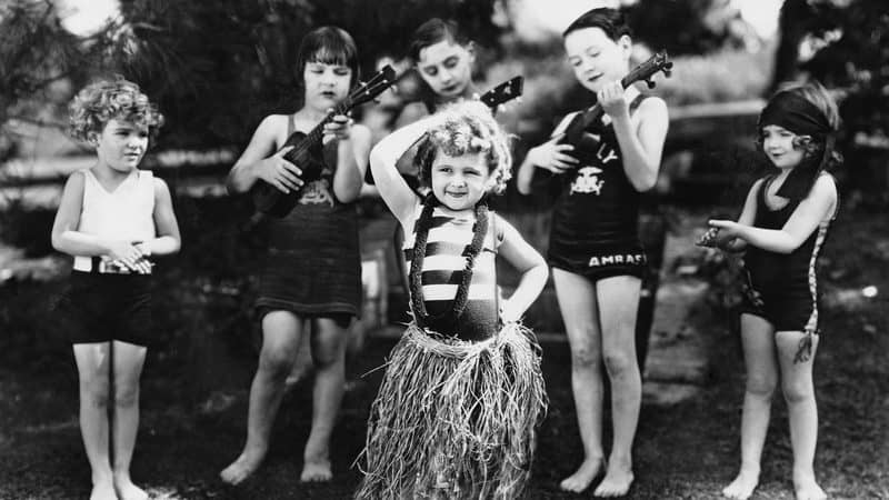 kids performing black and white old photograph Image
