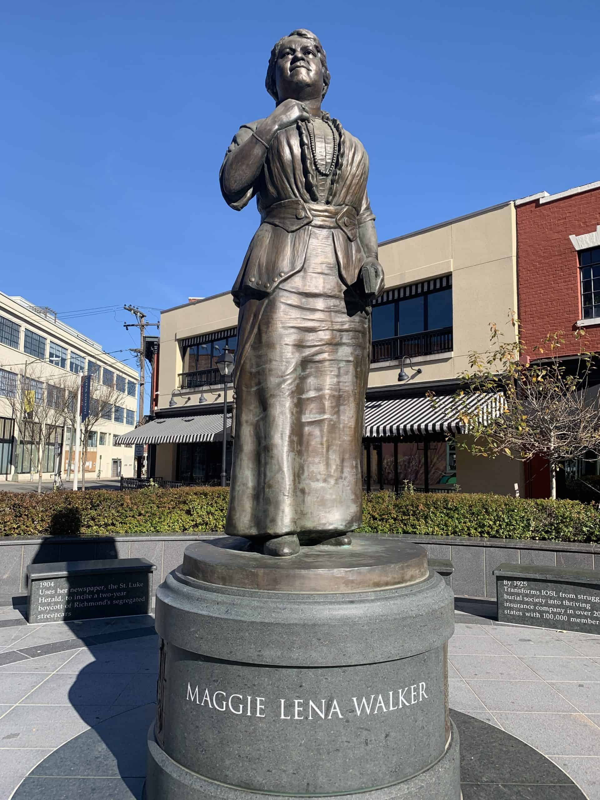 Maggie Walker statue in Jackson Ward on Broad Street, Richmond, Virginia