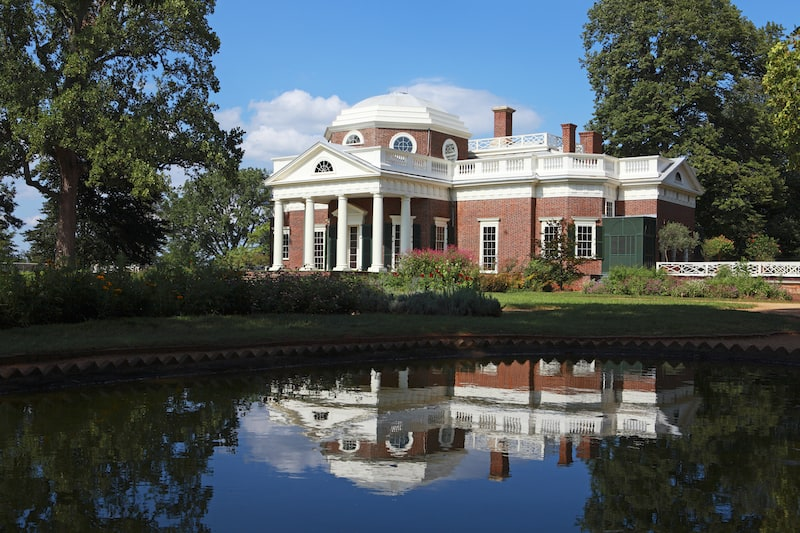 Monticello, the home of Thomas Jefferson, the third president of the United States. Built in a neoclassical style of architecture, it is now a National Historic Landmark located outside of Charlottesville, Va..
