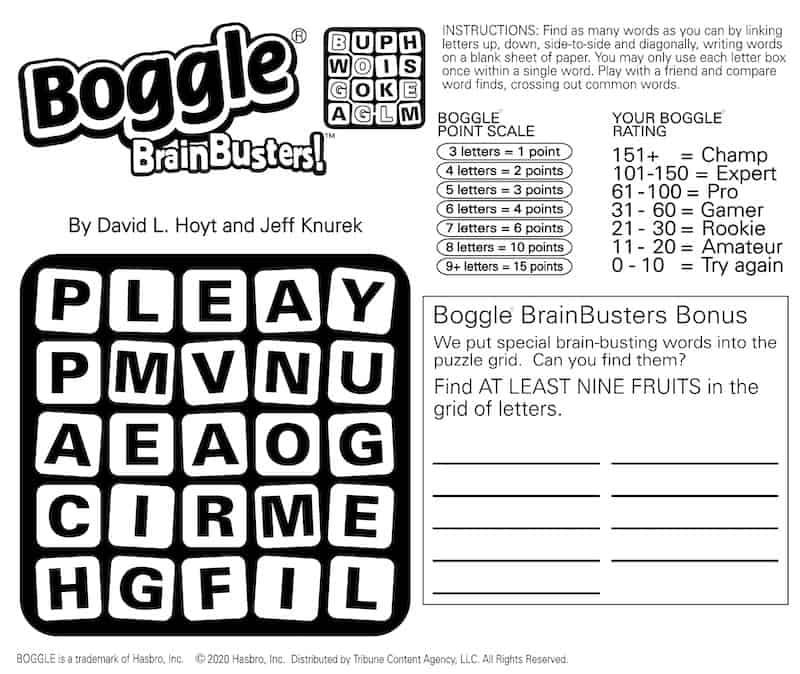 Boomer Brain Game Boggle March 15