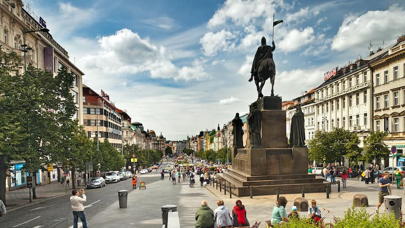 Wenceslas Square, Prague, Czechoslovakia. Rick Steves' Czech Out Prague Image