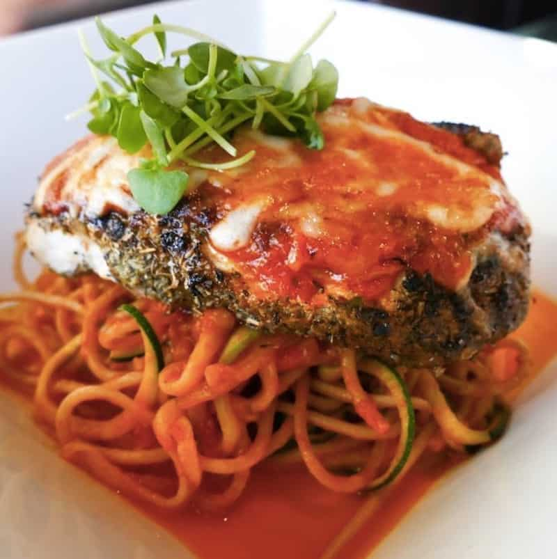"""Healthy grilled chicken parmesan over spiral zucchini and whole wheat spaghetti, from Hilton Head Health. For """"healthy-eating chicken recipe"""""""
