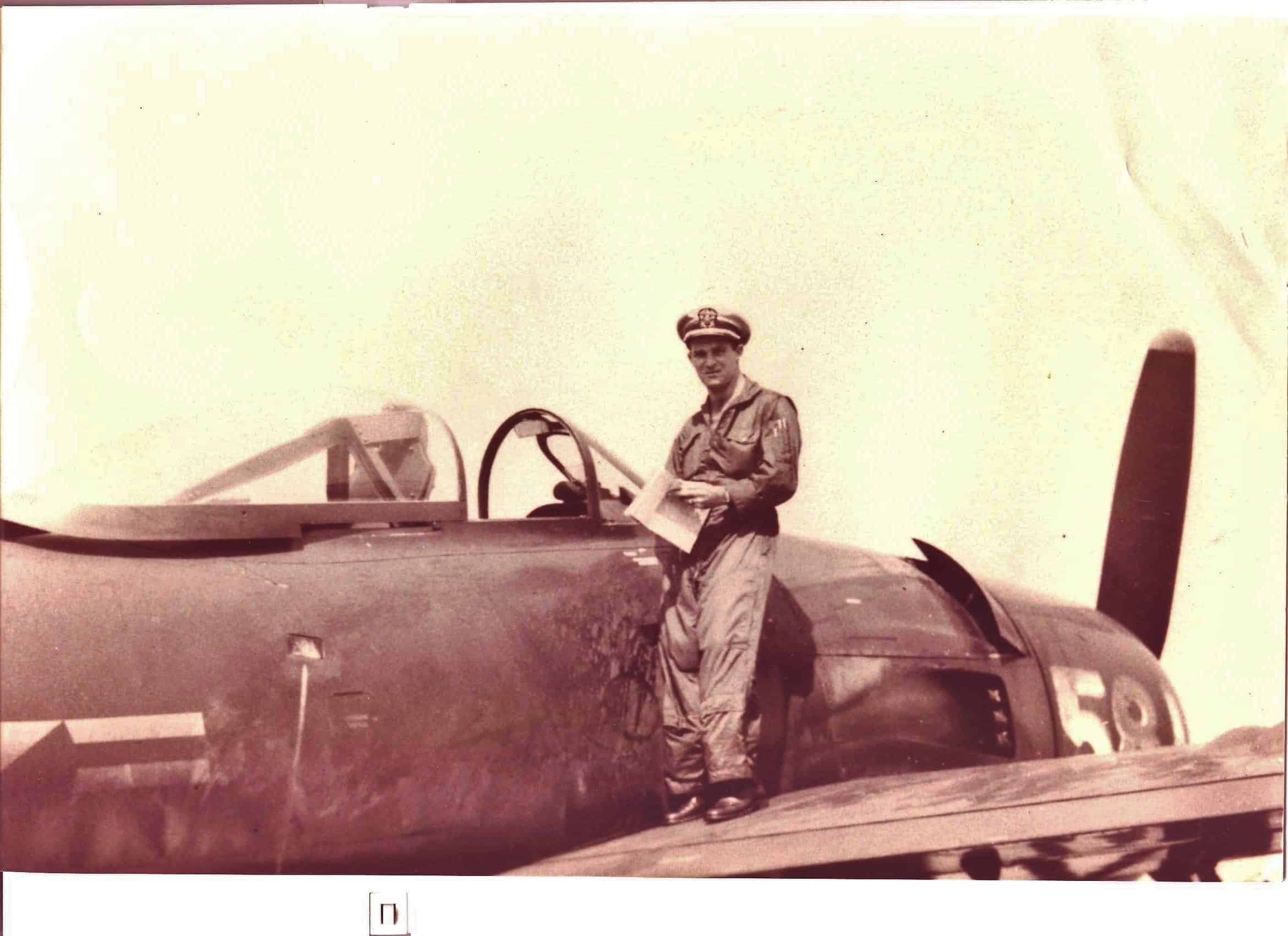 Commander W. T. Spriegel with his Navy plane