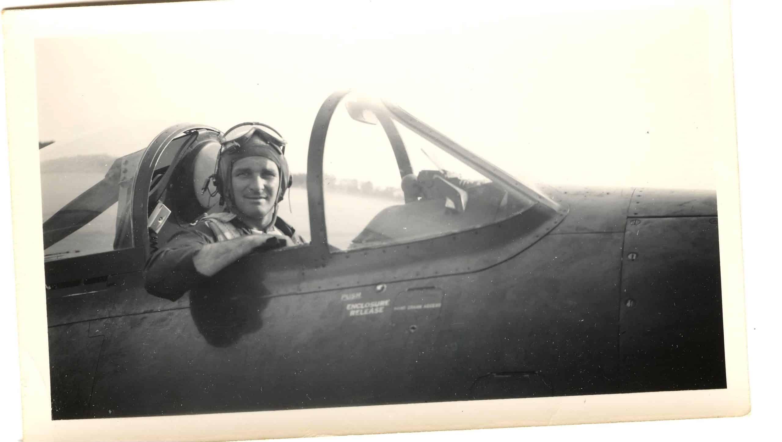 Commander W. T. Spriegel in his Navy plane