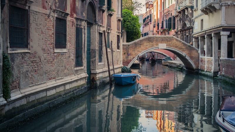 Rick Steves overdosing on Venice Italy with image of canal and gondola Image