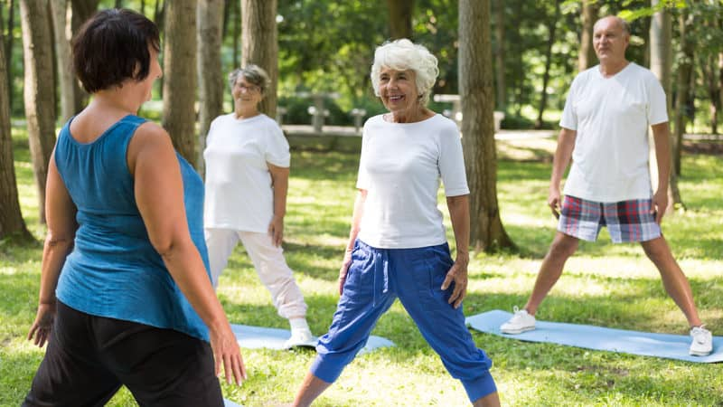 Seniors working out in a park: for career changes for seniors Image