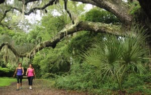 Two women walking at Hilton Head Resort, exercise to achieve the perfect post-pandemic body Image