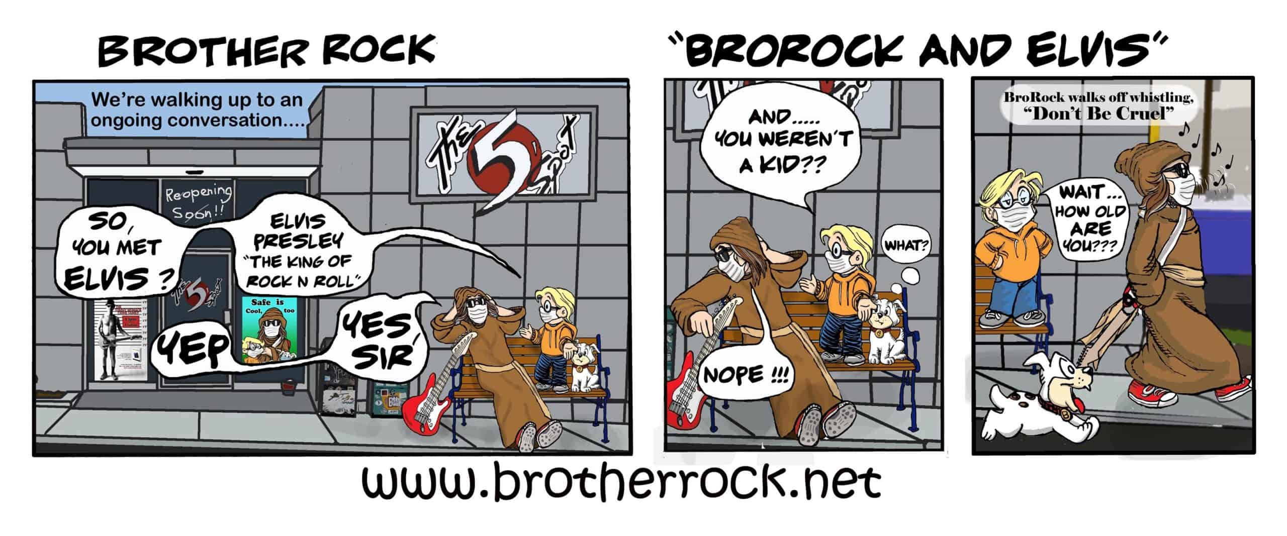 Brother Rock music cartoon: Elvis - Brother Rock knew Elvis, the King