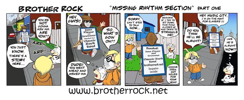 Brother Rock music cartoon: missing rhythm section sandwich board advertising