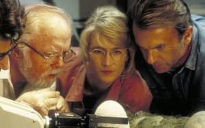 "Jeff Goldblum, Richard Attenborough, Laura Dern and Sam Neill in ""Jurassic Park."" Sam Neill on 50 years of acting Image"
