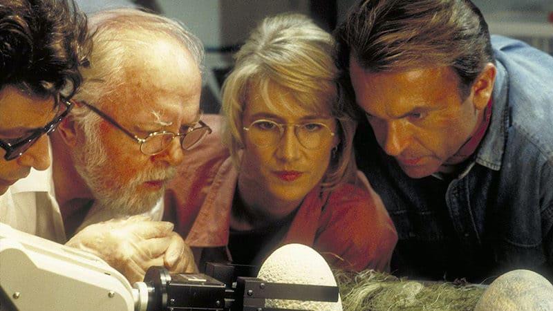 "Jeff Goldblum, Richard Attenborough, Laura Dern and Sam Neill in ""Jurassic Park."" Sam Neill on 50 years of acting Image"