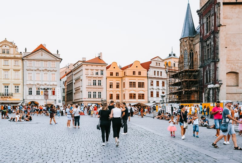 Old Town Square in Prague, Czechoslovakia
