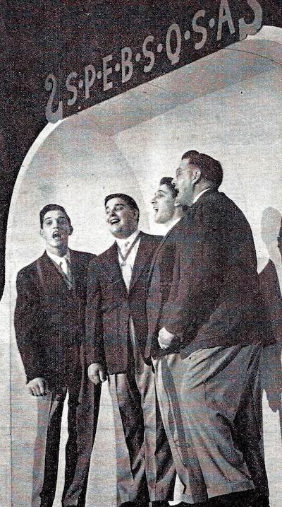 Schmitt Brothers barbershop quartet onstage in 1951