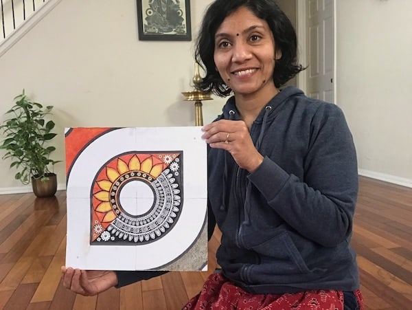 Jeena Suresh with her kolam