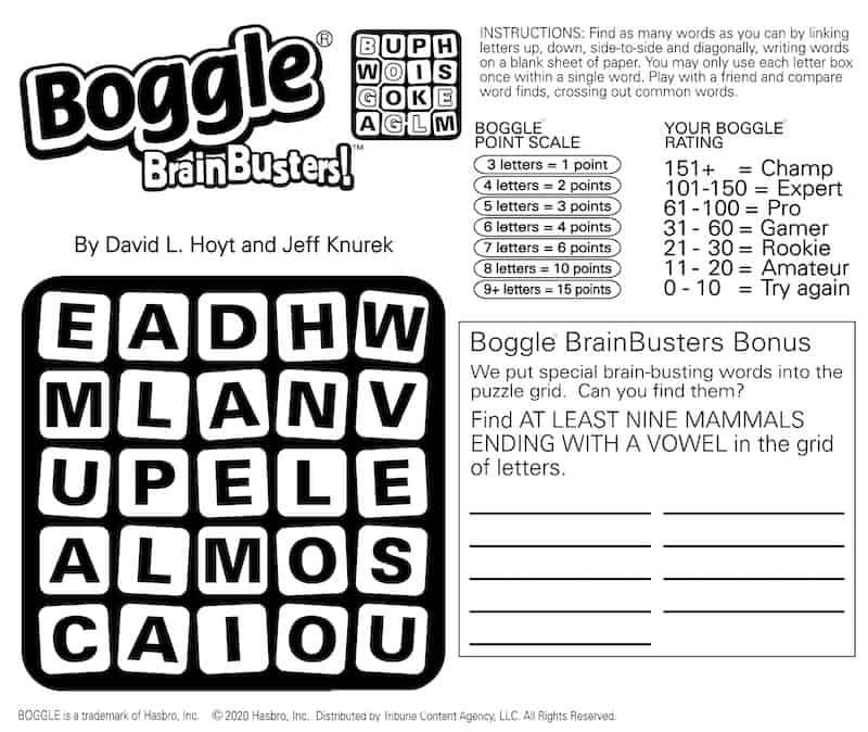 Boomer brain games Boggle mammals bonus