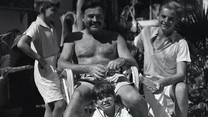 Ernest Hemingway with his three sons, Jack, Patrick, and Gregory at his Key West home. CREDIT: Star Tribune Image