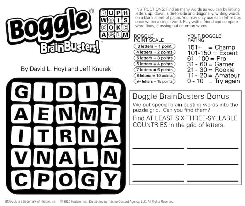 Boggle mental brain game for boomers