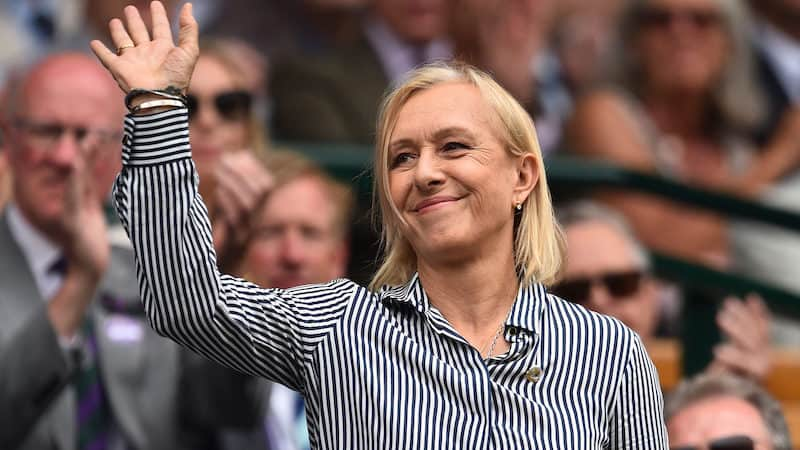 Former tennis player Martina Navratilova waves as she is presented in the Royal Box on Centre Court at The All England Tennis Club in Wimbledon, southwest London, on July 6, 2019. (Glyn Kirk/AFP/Getty Images/TNS). Martina Navratilova produces tennis documentary Image