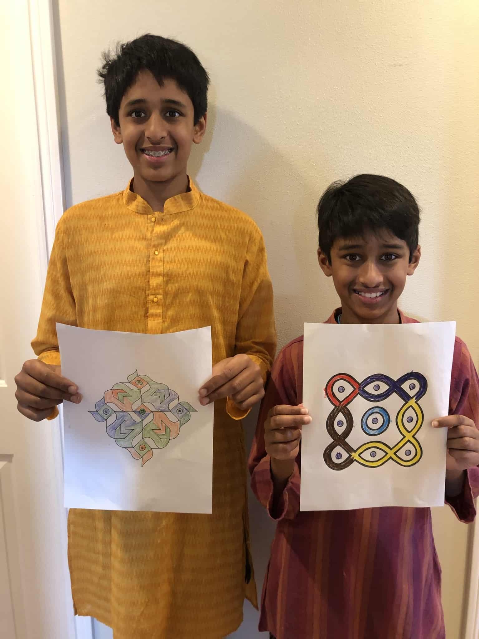 Ranji brothers with kolam 2021
