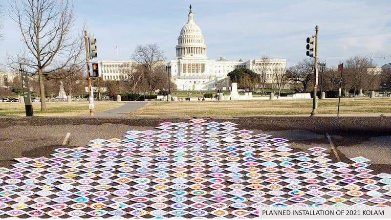 A visualization of the Kolam Art Installation in DC in front of the U.S. Capitol Image