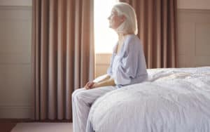 Senior woman suffering from chronic depression Image