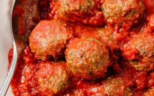 Pesto turkey meatballs in marinara sauce Image