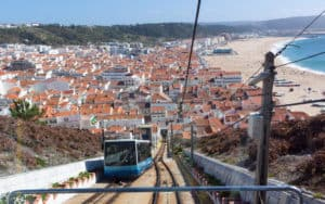 Nazare traditions and historic culture: the funicular and beach view from above Image