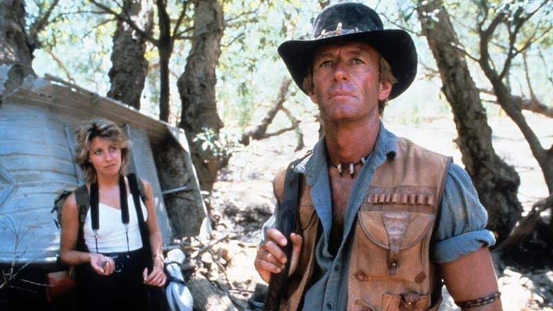 Paul Hogan in the original Crocodile Dundee movie, with co-star Linda Kozlowski Image