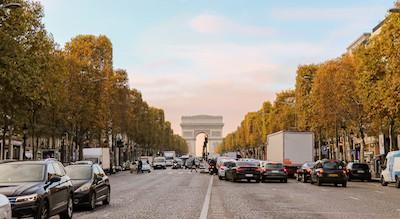 Traffic leading to the Arc de Triomphe, Paris, France