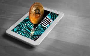 Bitcoin simulation cryptocurrency going into virtual wallet Image