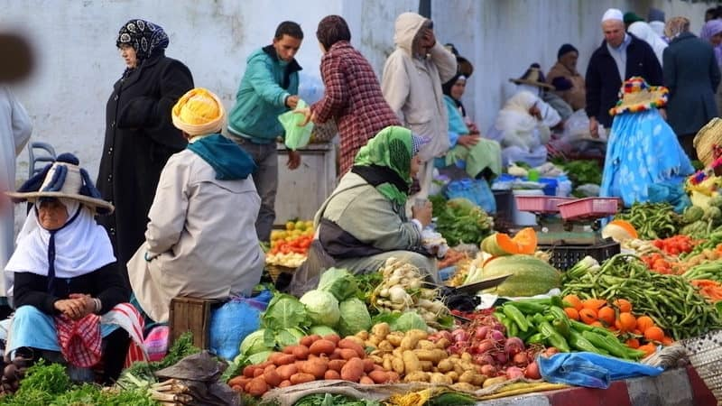 A farmers market in Tangier - among the places to visit, as part of Rick Steve tip for visiting Tangier, Morocco Image