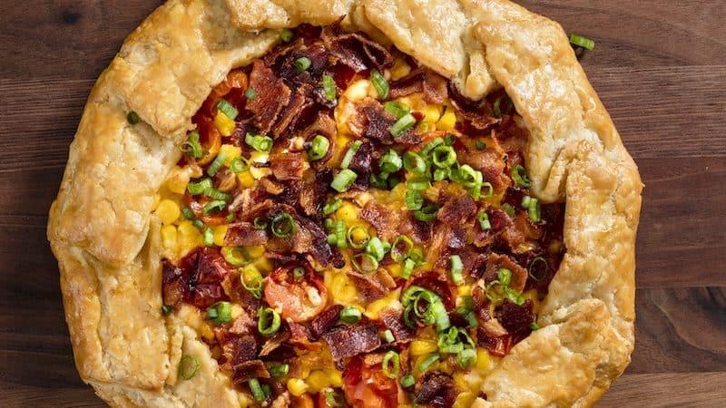 Corn, tomato, and bacon galette recipe Image