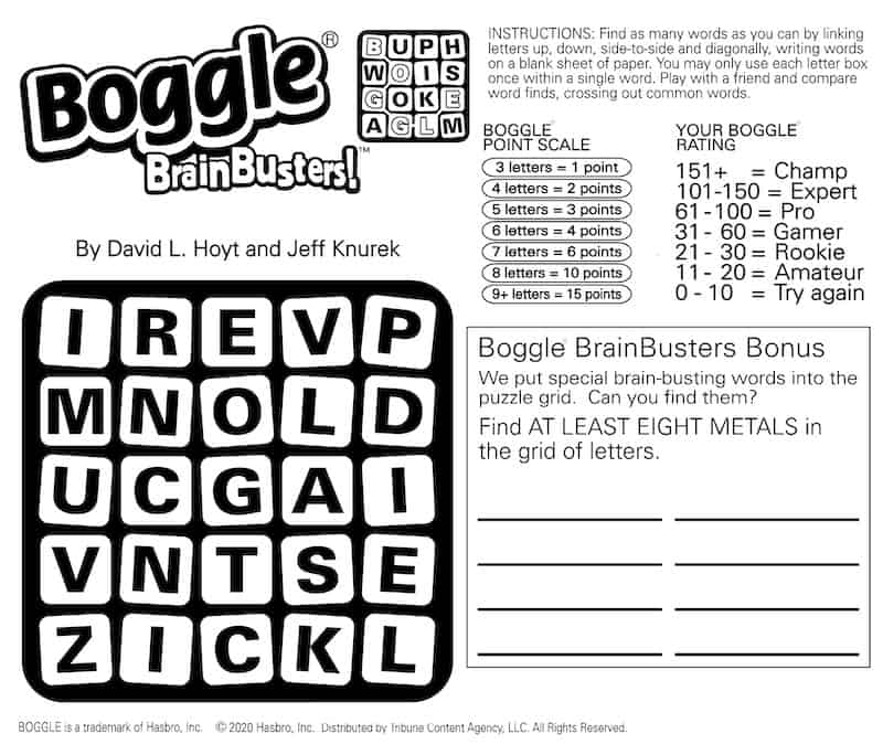Boggle BrainBuster for baby boomers