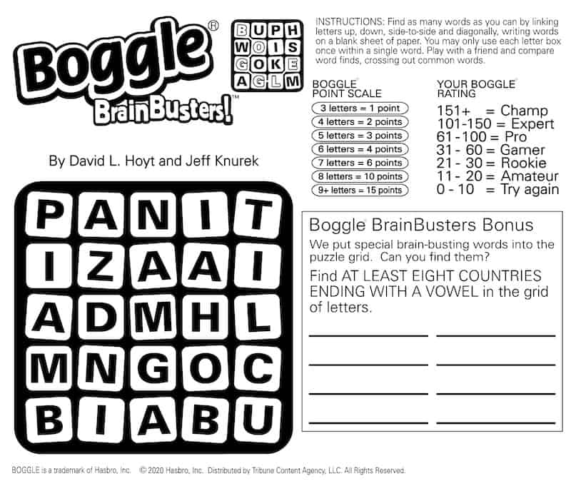 Boggle find-the-countries puzzle