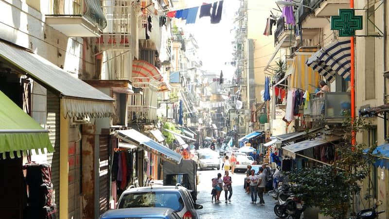 Basso living (life on the street) in Naples. Image