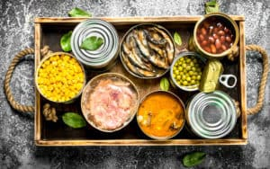 Tray of healthy canned foods Image